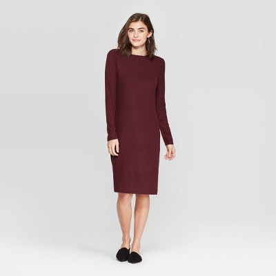 Women's Long Sleeve Crewneck Rib Knit Dress - A New Day™ Rose S