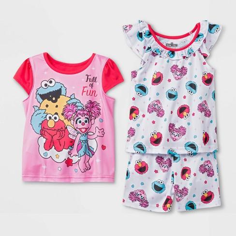 e22e5f7b Toddler Girls' 3pc Sesame Street Pajama Set - Pink : Target