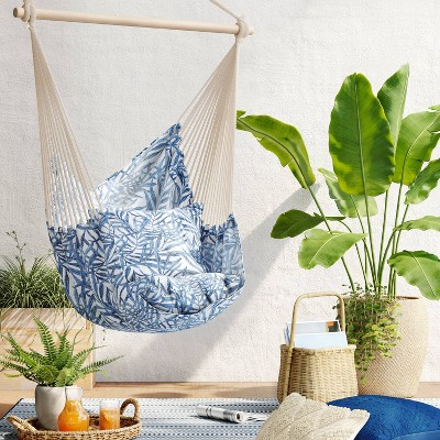 Pillowtop Hammock Chair with Spreader Bar Navy Tropical Leaf - Threshold™