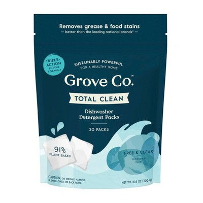 Grove Co. Total Clean Dishwasher Detergent Packs - Free & Clear - 20ct