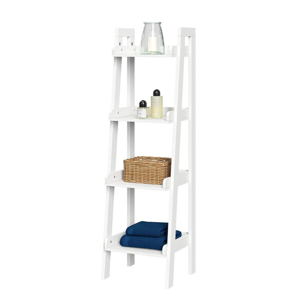 Image of 4 Tier Narrow Ladder Bathroom Shelf White
