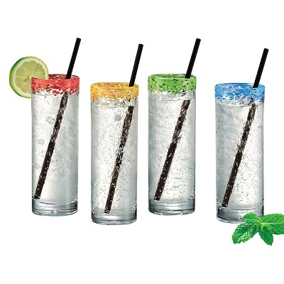 Artland Mingle 12oz 4pc Cooler Glasses with Straws