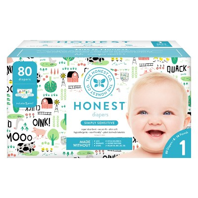 Honest Company Diapers Club Pack, Barnyard Babies - Size 1 (80ct)