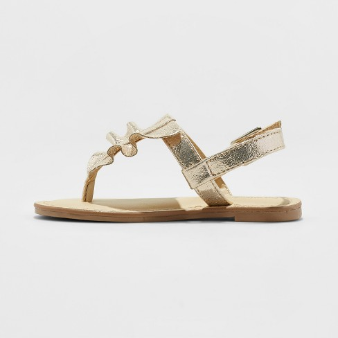 471e5a3e6298 Toddler Girls' Naomi Ruffle Thong Sandals - Cat & Jack™ Gold 7 : Target