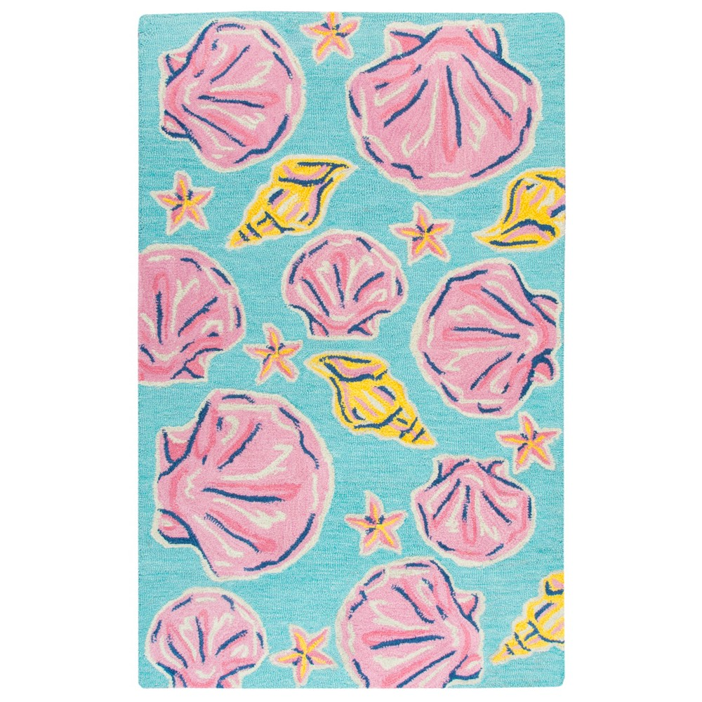 "Image of ""2'6""""X4' Tufted Seashell Accent Rug Blue - Rizzy Home"""