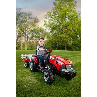 Peg Perego 12V Case Magnum Tractor with Trailer Powered Ride-On - Red