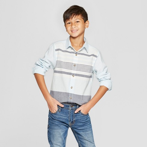 25b899dd82f74 Boys  Long Sleeve Striped Poplin Button-Down Shirt - Cat   Jack™ Light Blue