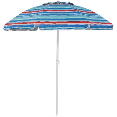 Sunnydaze Outdoor Vented Beach Umbrella with Tilt Function and UV Protection - 6' - Blue and Red Pacific Stripe