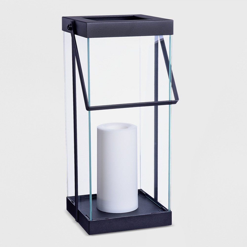 """Image of """"14"""""""" Metal Battery Operated Outdoor Lantern Black - Project 62"""""""