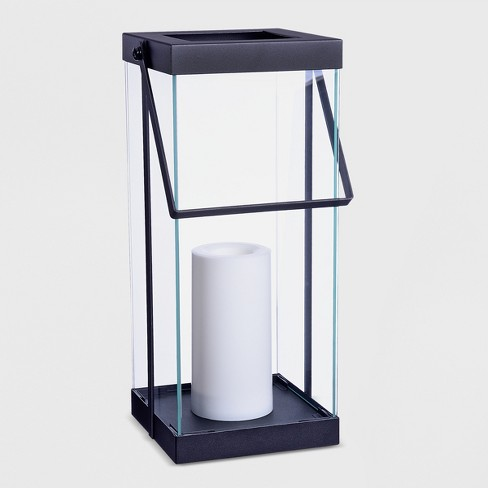 "14"" Metal Battery Operated Outdoor Lantern Black - Project 62™ - image 1 of 4"