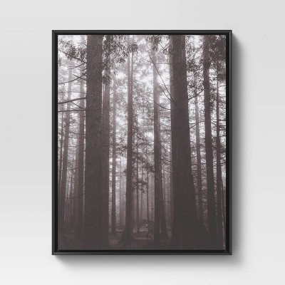 "24"" x 30"" Forest Framed Decorative Wall Art Canvas Black - Threshold™"