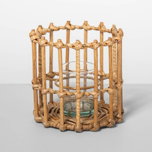 """5"""" x 5"""" Rattan Hurricane Tealight Candle Holder Natural - Opalhouse™ - image 1 of 2"""