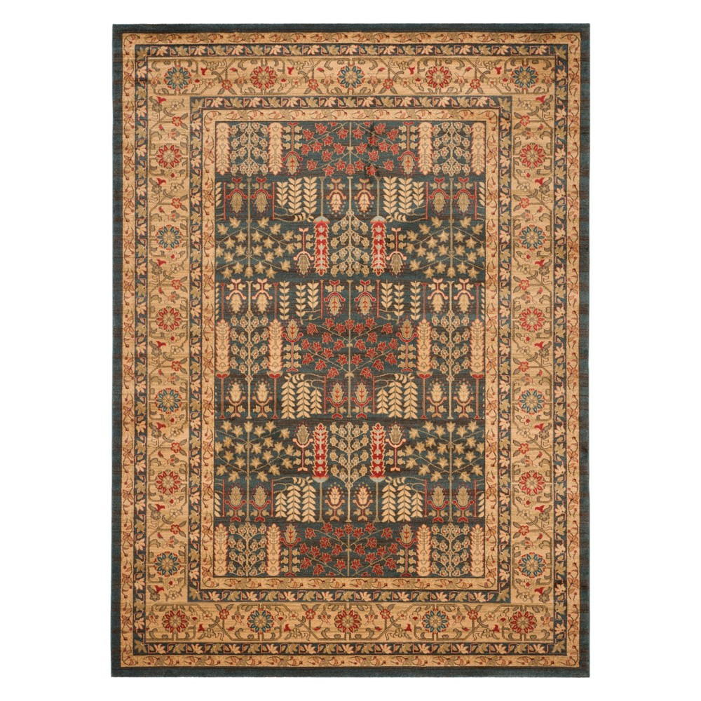 Floral Area Rug Navy/Natural