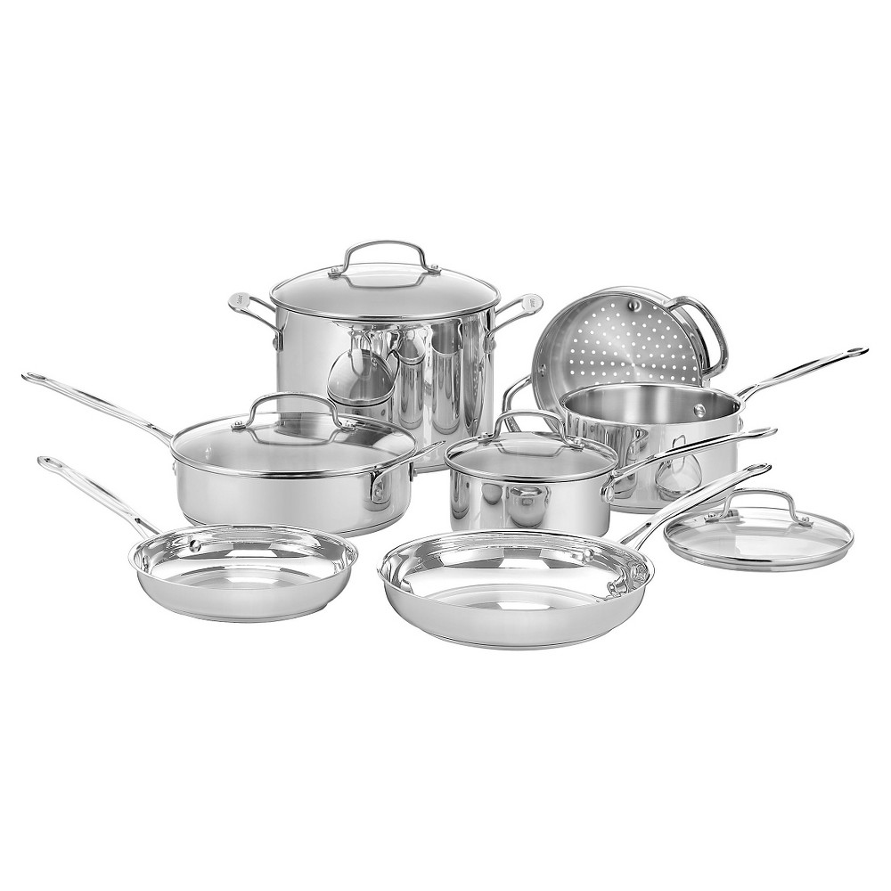 Image of Cuisinart Chef's Classic Stainless Steel 11 Piece Cookware Set w/cover - 77-11G