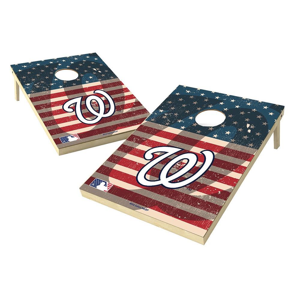 MLB Wild Sports Washington Nationals 2x3 Tailgate Toss Cornhole Shield - Stars and Stripes