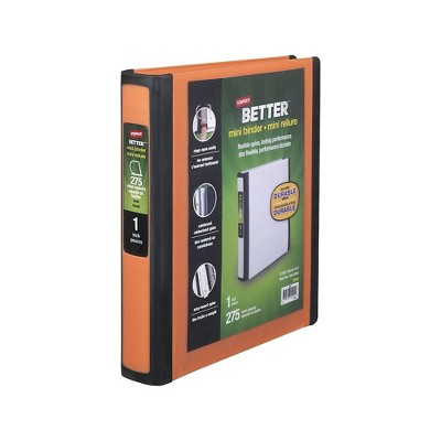 Staples Better Mini 1-Inch D 3-Ring View Binder Orange (20944) 55906/20944