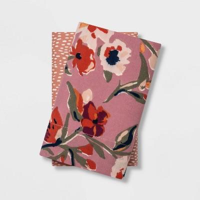 Standard 2pc Printed Pillowcase Set Floral/Dot - Opalhouse™