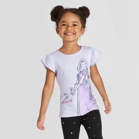 Toddler Girls' Short Sleeve Disney Princess Rapunzel T-Shirt - Light Purple - image 1 of 4