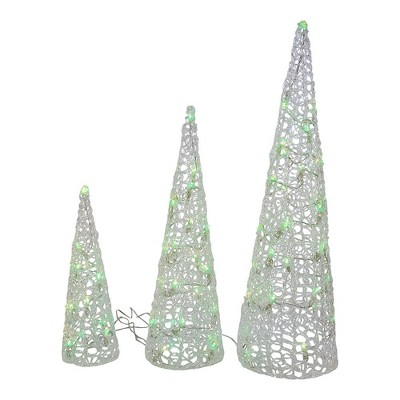 "Kurt Adler 12-23.6"" Clear Cones with RGB LED Light, Set of 3"