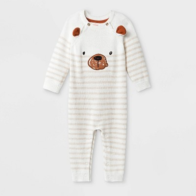 Baby Boys' Bear Romper - Cat & Jack™ Cream 3-6M