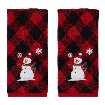 2pk Snowman Hand Towel Set Red/Black - SKL Home