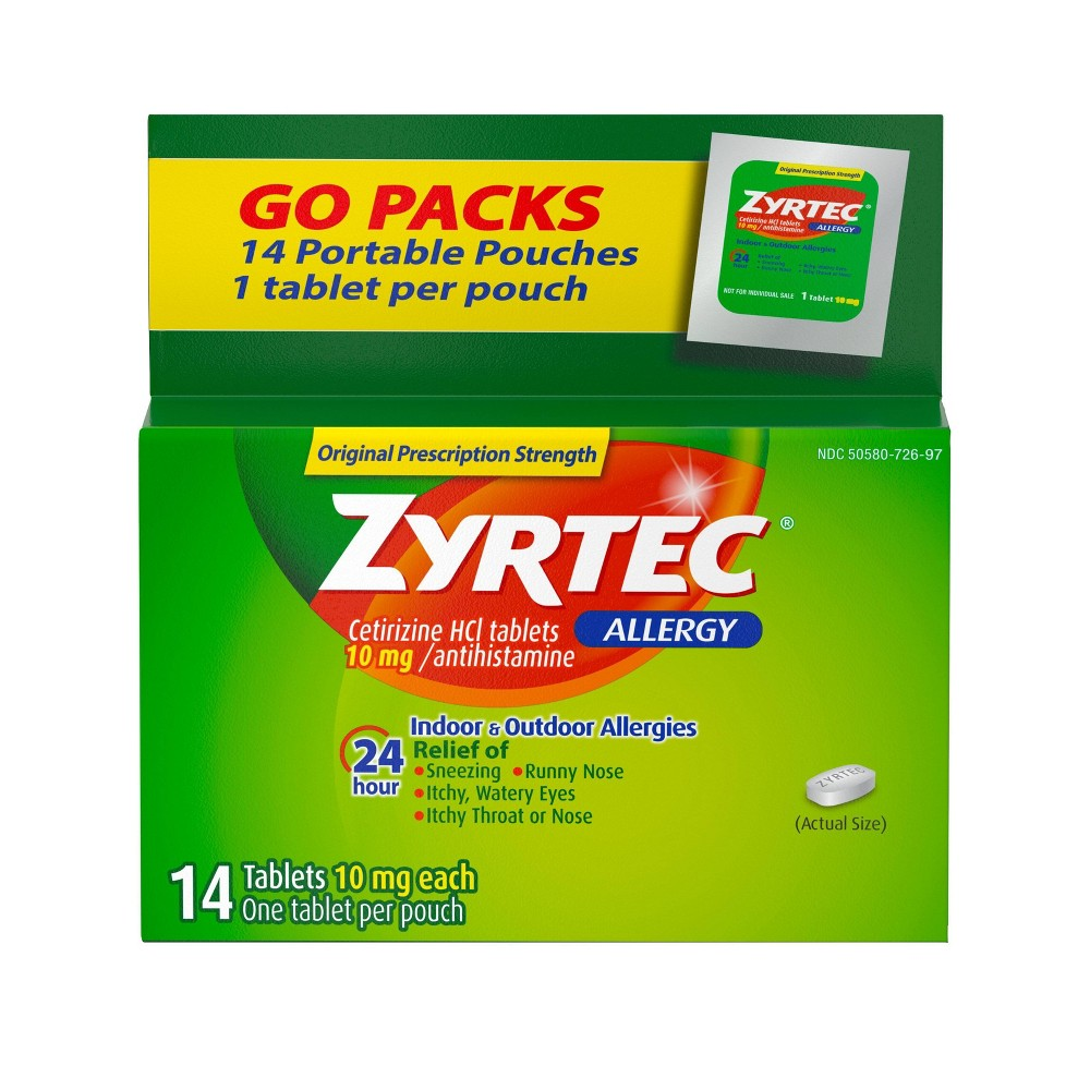 Zyrtec 24 Hour Allergy Relief Tablets Cetirizine Hcl 14ct