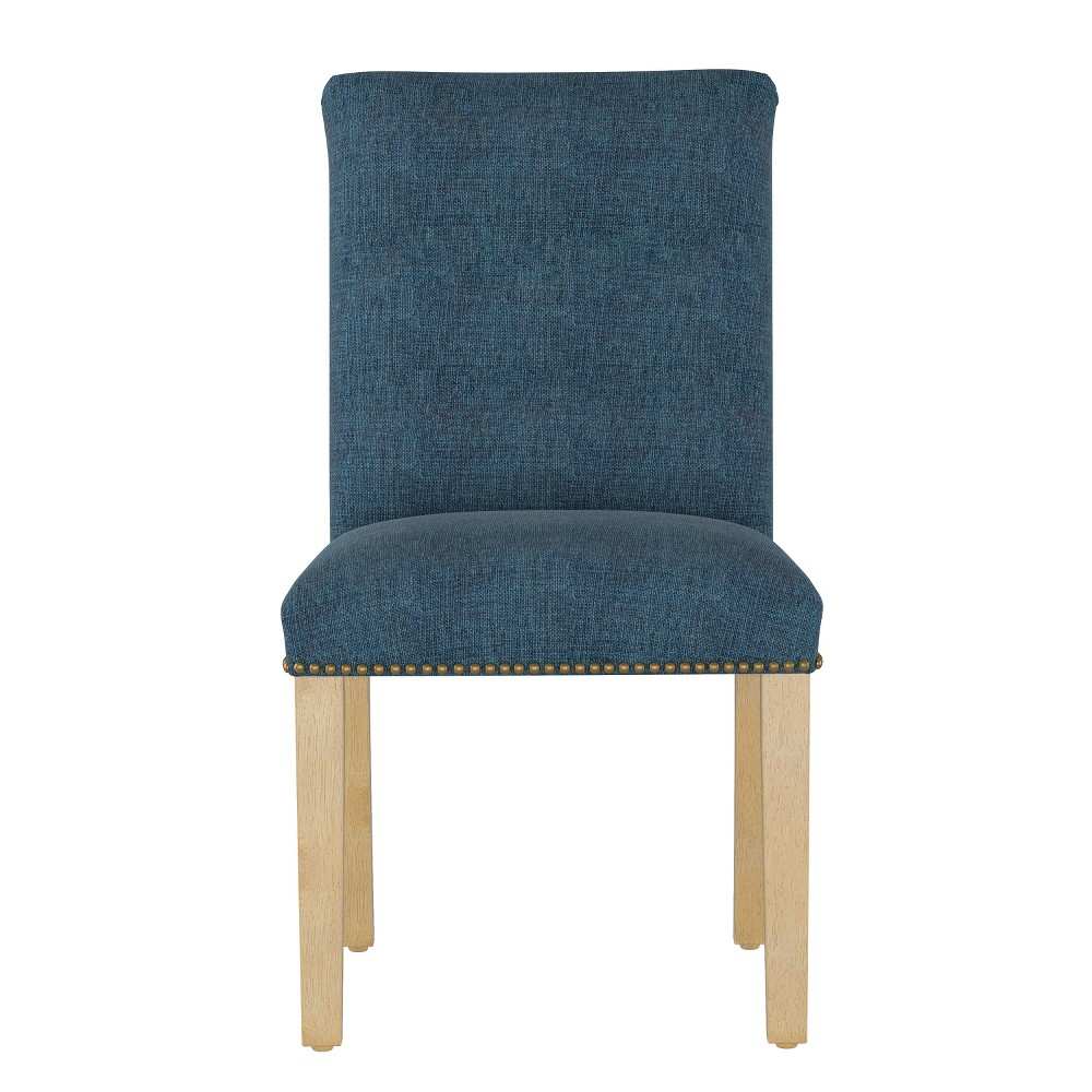 Shelly Nail Button Dining Chair Dark Navy Linen with Brass Nail Buttons - Cloth & Co.