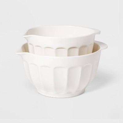 2pc Melamine Mixing Bowl Set White - Threshold™