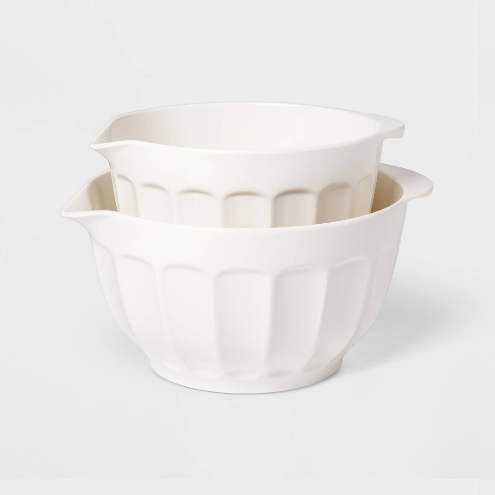 Image of 2pc Melamine Mixing Bowl Set White - Threshold