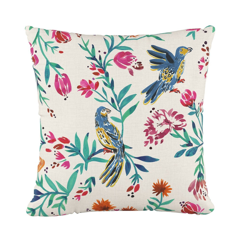Hoxton Bird Square Throw Pillow Cream (Ivory) - Cloth & Co.
