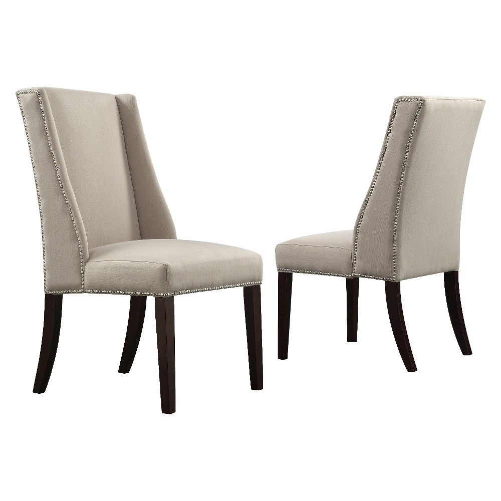 Harlow Wingback Dining Chair with Nailheads Wood/Gray (Set of 2) - Inspire Q, Light Gray