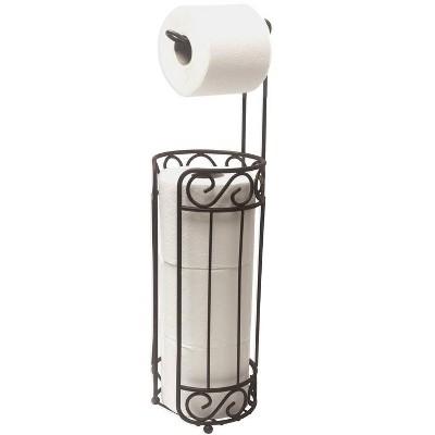 Home Basics Scroll Collection Freestanding Dispensing Toilet Paper Holder, Bronze