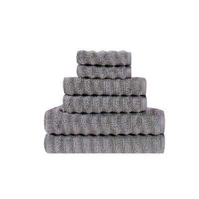 6pc 100% Cotton Zero Twist Bath Towel Set Gray - Sean John