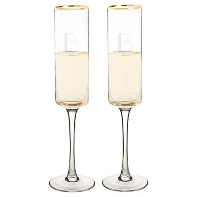 2ct  B  Monogram Champagne Flute Gold