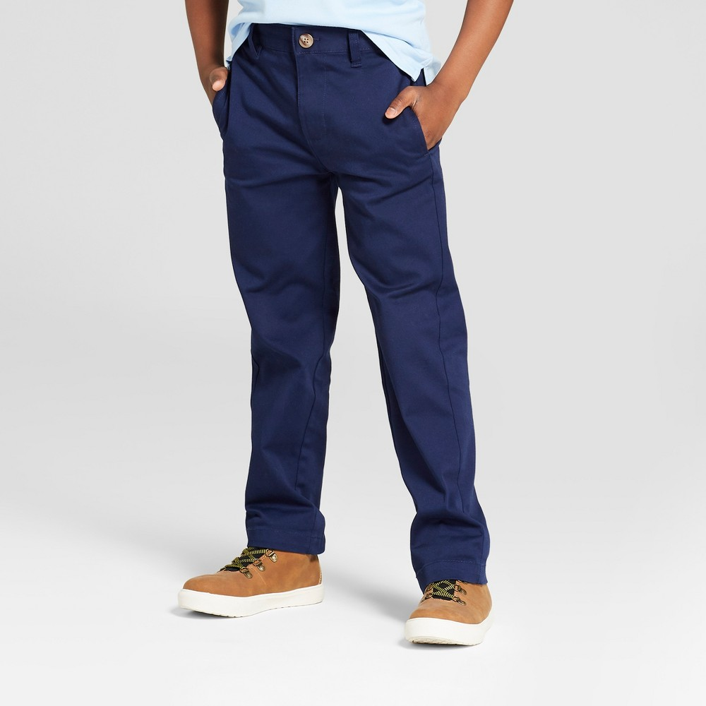 Boys' Flat Front Straight Fit Stretch Uniform Chino Pants - Cat & Jack Navy 10 Slim, Blue was $12.99 now $9.09 (30.0% off)