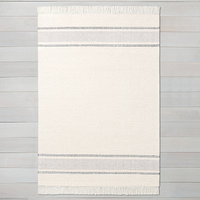 7' x 10' Tri-Striped Area Rug Railroad Gray / Jet Gray / Sour Cream - Hearth & Hand™ with Magnolia