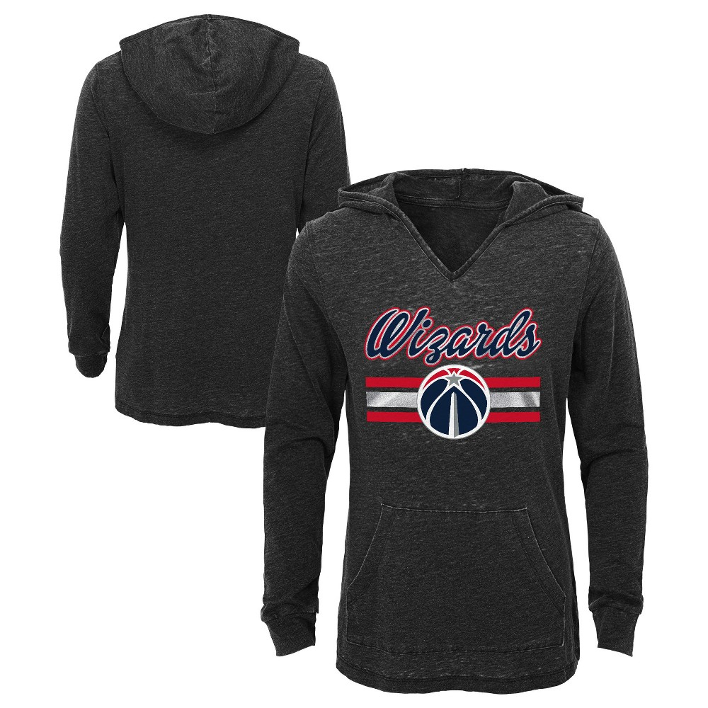 Washington Wizards Girls' Top of the Key Gray Burnout Hoodie S, Multicolored