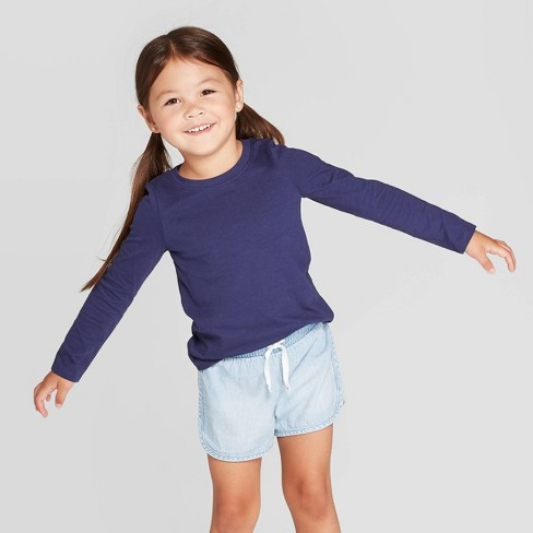 Toddler Girls' Long Sleeve T-Shirt - Cat & Jack™ Navy - image 1 of 3