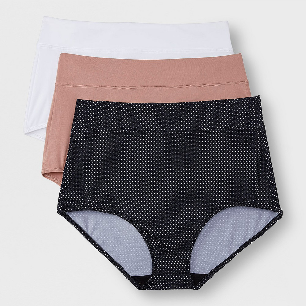 Simply Perfect by Warner's Women's 3pk No Muffin Top Micro Briefs - Black Pin Dot /Toasted Almond / White XL