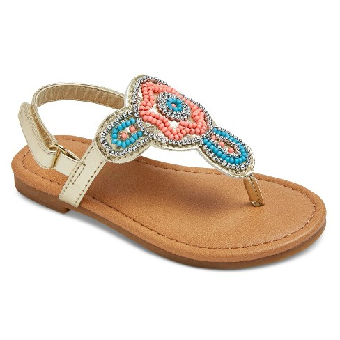 Toddler Girls' Willa Beaded Thong Sandals Cat & Jack™ - Gold 10 - image 1 of 3