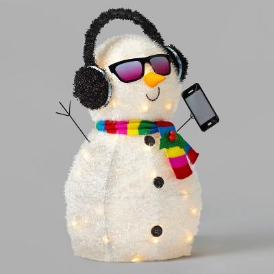 Incandescent Tinsel Snowman with Glasses & Phone Christmas Novelty Sculpture - Wondershop™
