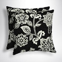 2pk Square Ashland Jacobean Outdoor Throw Pillows Black/White - Arden Selections
