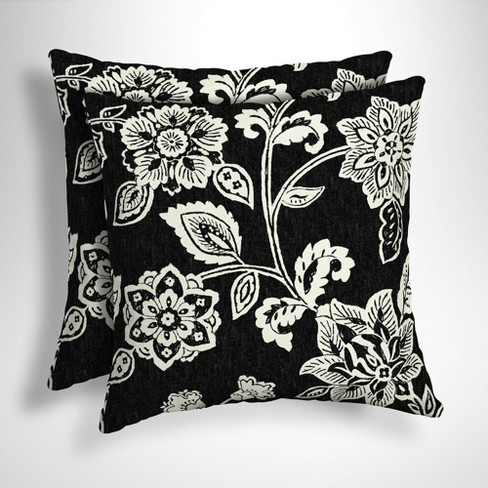 2pk Square Ashland Jacobean Outdoor Throw Pillows Black White