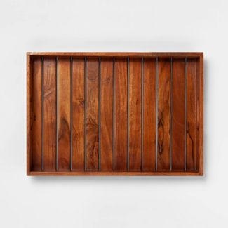 "20"" x 14"" Decorative Wood Tray Brown - Smith & Hawken™"