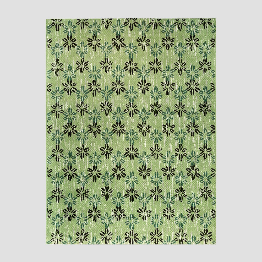 7' x 10' Floral Stamp Outdoor Rug Green - Opalhouse
