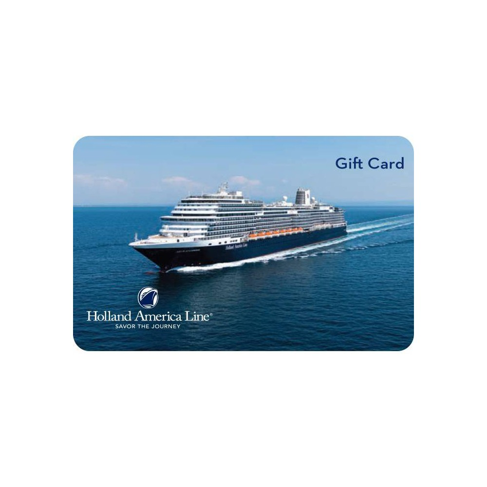 Holland America $200 Giftcard (Email Delivery) For more than 140 years, Holland America Line has held true to the timeless elegance of ocean travel. With unrivaled itinerary choices and 400+ ports of call- more than any other premium cruise line. Redeem your Gift Card when booking online, through HollandAmerica.com, or by calling your travel consultant Gift Cards are redeemable onboard the ship at the Guest Services Desk