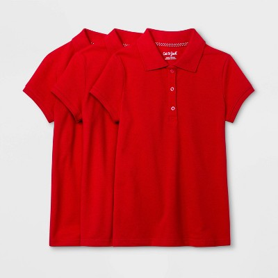 Girls' 3pk Short Sleeve Stretch Pique Uniform Polo Shirt - Cat & Jack™ Red
