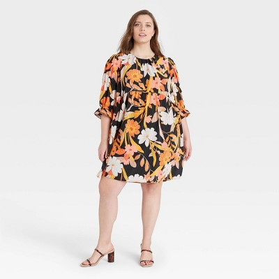 Women's Floral Print Puff Elbow Sleeve A-Line Dress - Who What Wear™
