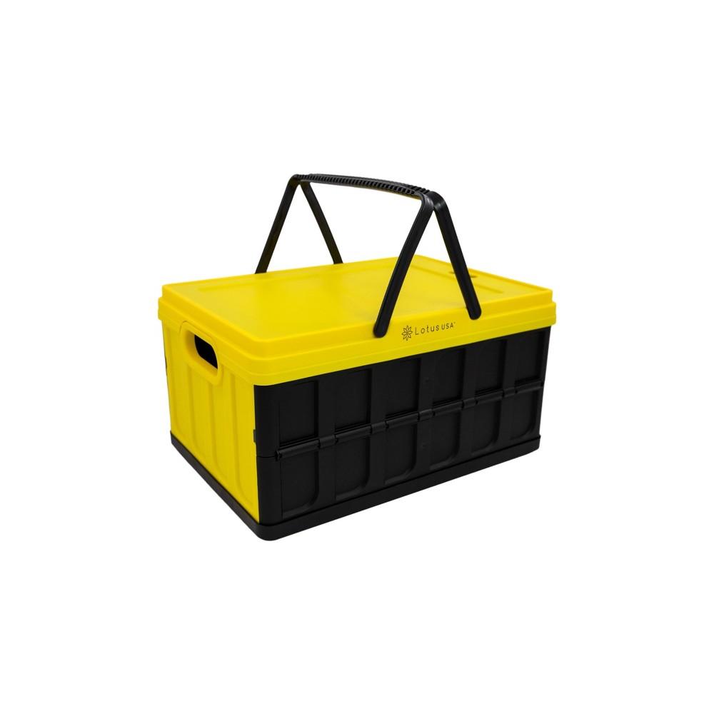 Image of 33qt Foldable Hardside Basket Storage Crate Yellow/Black - Lotus USA