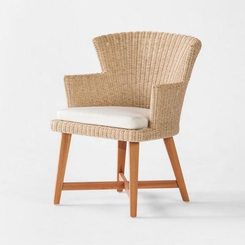 Staton 2pk Wood All Weather Wicker Patio Dining Chair W Sunbrella Cushion Brown Beige Smith Hawken Target